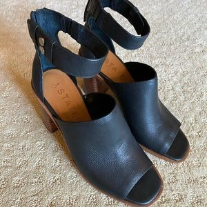 1 State ankle strap, block heel, open toe